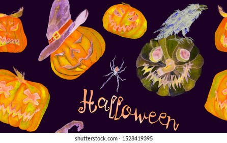 Halloween colorfull pattern design, pumpkin, witch hats, spiders, crow, broom, Hand painted watercolor on black background