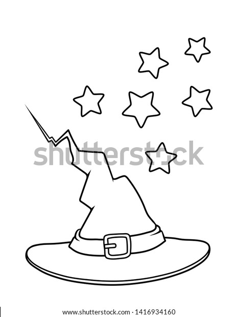 Halloween Coloring Page Kids Witch Hat Stock Illustration 1416934160
