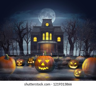 Halloween concept, a spooky haunted ghost house at full moon in a pumpkin field, 3d render