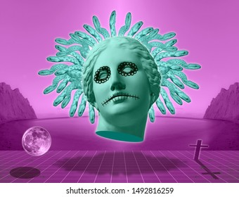 Halloween. Contemporary art concept collage with antique statue head of Venus in a surreal horror style.