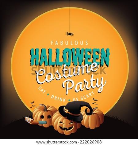 halloween costume party invite pumpkins stock illustration 222026908