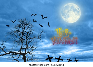 Halloween creepy forest with bats and the moon,happy holloween