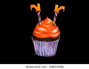 Halloween cupcake decorated with legs of witch wearing orange boots dipped into bright orange cream on chocolate cake with purple paper cup. Watercolor illustration isolated on black background.