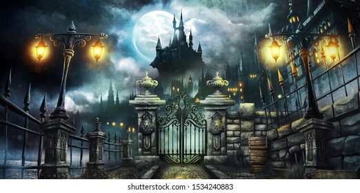 halloween dark castle with full moon wallaper