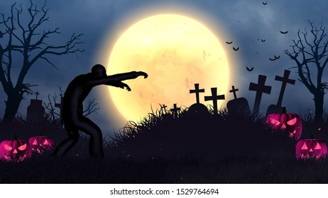 Halloween Dark Night Zombie Background