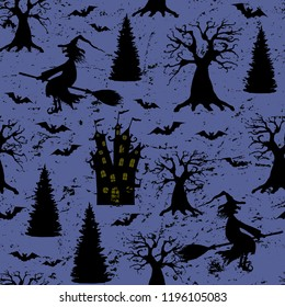 Halloween dark purple grunge seamless pattern with silhouettes of terrible dead trees, castle, bats, wicked witch flying on broomstick on grungy spooky night background. Halloween, horror concept.