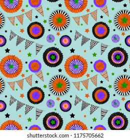 Halloween decorations Seamless Pattern on Blue Background. Cockades and Flags in Halloween Colors. Halloween Seamless Rapport for Print, Background, Gift Wrap, Upholstery, and Fashion Textile.