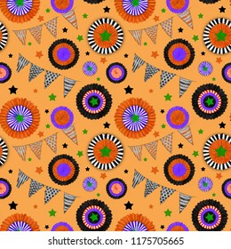 Halloween decorations Seamless Pattern on Orange Background. Cockades and Flags in Halloween Colors. Halloween Seamless Rapport for Print, Background, Gift Wrap, Upholstery, and Fashion Textile.