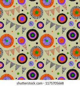 Halloween decorations Seamless Pattern on Yellow Background. Cockades and Flags in Halloween Colors. Halloween Seamless Rapport for Print, Background, Gift Wrap, Upholstery, and Fashion Textile.