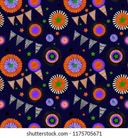 Halloween decorations Seamless Pattern on Dark Sky Background. Cockades and Flags in Halloween Colors. Halloween Seamless Rapport for Print, Background, Gift Wrap, Upholstery, and Fashion Textile.