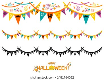Halloween Decorations Set in Flat Style Isolated on White. Flag Garland with Holiday Cute Characters. Collection of Halloween Themed Bunting.  Illustration.
