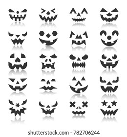 Halloween face icon set. Pumpkin black silhouette with reflection. Monochrome flat design symbol collection. Simple graphic pictogram pack. Web, baner, card, business logo concept. illustration