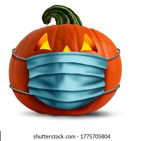 Halloween face mask as a jack o lantern pumpkin wearing a medical face mask as an autumn symbol for disease control and virus infection and coronavirus or covid-19 safety in a 3D illustration style.