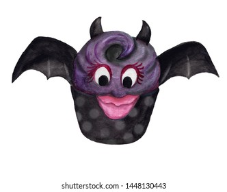 Halloween fancy cupcake, special design of funny bat with purple cream. Watercolor illustration hand drawn brush paint, isolated on white background.