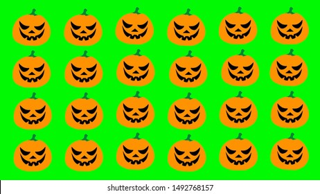 Halloween flat style cartoon pumpkins with black eyes. Group of pumpkins on green background. Design illustration