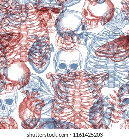 Halloween floral vintage seamless pattern. X-ray background. Human skeleton.
