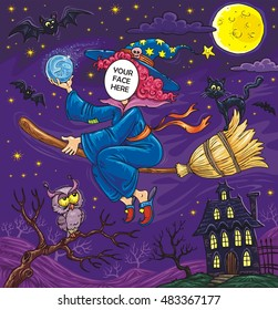 halloween flying witch black cat owl stock illustration royalty
