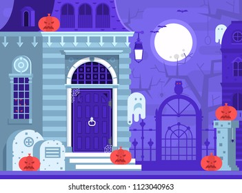 Halloween ghost house scene with victorian haunted mansion entrance, old cemetery, spooks and gallows tree by full moon night. Horror story or scary tale concept illustration.