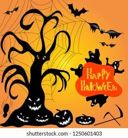 Halloween ghost pumpkin bats cobwebs illustration