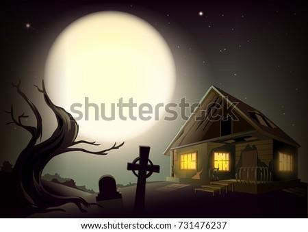 225bed8ac84 Halloween Gloomy Night Landscape Big Full Stock Illustration ...