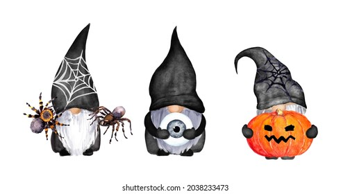 Halloween gnomes set - jack lantern from pumpkin, spider and web, eye in hands. Funny creepy watercolor trick or treat collection