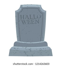 Halloween. Gravestone in cemetery. Illustration for terrible holiday