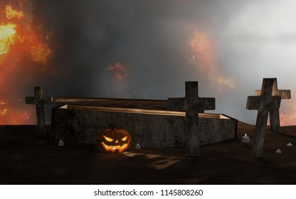 Halloween graveyard open coffin with cross in fire and fog 3d-illustration
