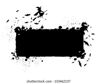 Halloween grunge silhouette background/Halloween grungy silhouette background with witch on flying broom and swarm of bats, black ink isolated on white