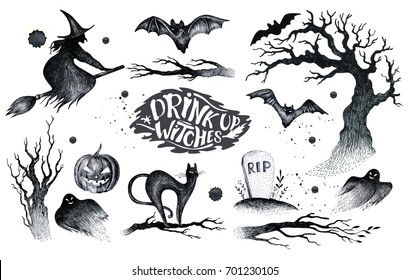 Halloween hand drawing black white graphic set icon, drawn Halloween symbols pumpkin, broom, bat, witches. Horror  elements pumpkins, ghosts, witches, bats, bones, stars.Happy Halloween day.