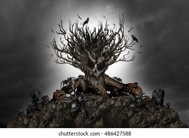 Halloween haunted creepy tree night background as an old growth plant shaped as a monster skull with pumpkins and spiders as a scary autumn scenery as a horror theme with 3D illustration elements.