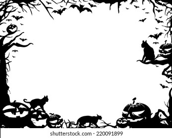 Halloween horizontal frame border isolated on white