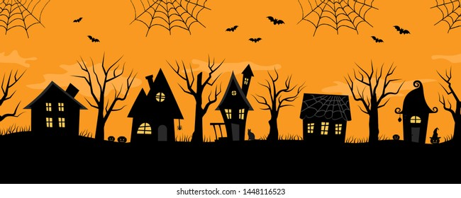 Halloween houses. Spooky village. Seamless border. Black silhouettes of houses and trees on an orange background. There are also bats, ghosts, pumpkins and a cat in the picture. Raster