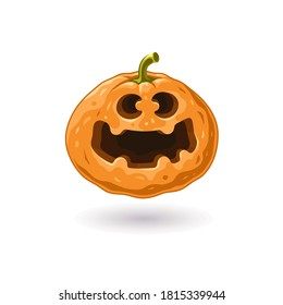 Halloween icon. Pumpkin for halloween. Smile icon. Good mood. Autumn symbol. Scary pumpkin with smile. Cartoon character. Positive emoji. Halloween illustration.