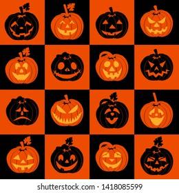 Halloween icon set of pumpkins. Background autumn illustration of cheerful pumpkins.