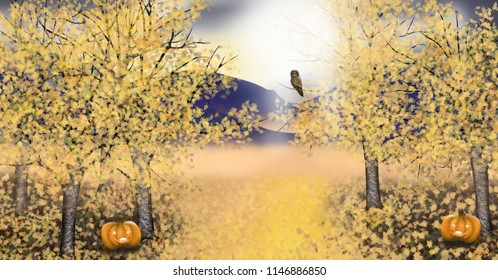 Halloween illustration of autumn landscape with asp trees with golden leaf an owl and pumpkins