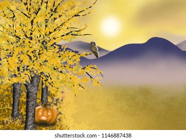Halloween illustration of autumn landscape with asp trees pumpkin and owl