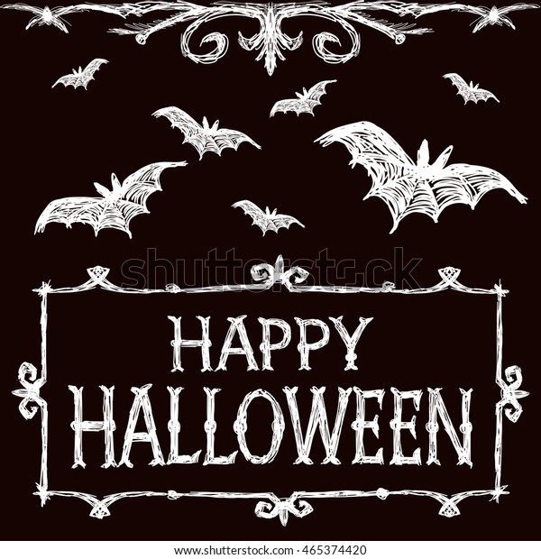 Halloween Illustration Bats Fly Creepy Framework Stock
