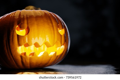 Halloween jack-o-lanter pumpkin looking right with emotion. Halloween background image for posters and advertisement. 3D illustration with empty space for text.