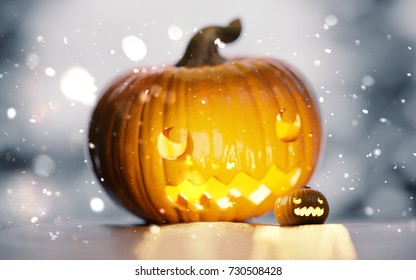 Halloween Jack-O'-Lantern glowing pumpkin with smile face looking at a smaller pumpkin amazed by falling snow. 3D illustration with two pumpkins.