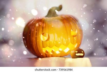 Halloween jack-o'-lantern pumpkins with bokeh effect. Two smiling, amazed pumpkins 3D illustration.