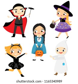 Halloween kids. Cartoon children in party costumes. Witch, vampire, ghost, cat and other