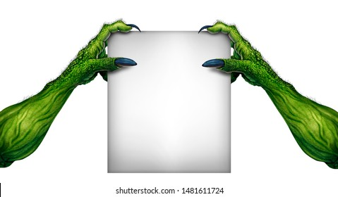 Halloween monster blank sign as green zombie hands holding a white promotional card in a 3D illustration style.