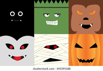 Halloween monsters' face illustrated in square photo; Bat, vampire, monster, Mummy, Werewolf, Jack o' lantern.