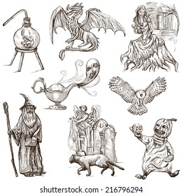 Halloween (Monsters, Magic and Fairy Tales) - Collection (no.3) of an hand drawn illustrations. Full sized hand drawn illustrations drawing on white.