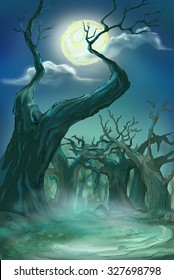 Halloween.  Moonlit Night in the terrible forest. Scary place. Spooky night forest with old trees, fog, bog, full moon.
