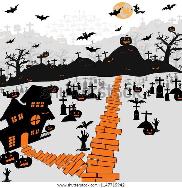 Halloween night background with silhouette of naked trees, tomb, haunted house, pumpkin, full moon and witch on white background, Hand drawn for Halloween party concept,  Space for text in template
