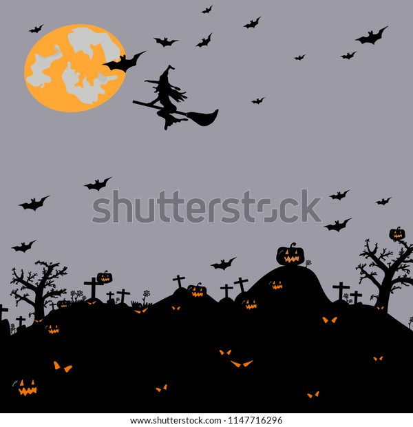 Halloween night background with silhouette of naked trees, tomb, bats, pumpkin, full moon and witch on dark background, Hand drawn for Halloween party concept,  Space for text in template