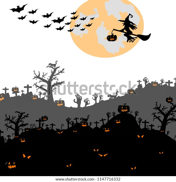 Halloween night background with silhouette of naked trees, tomb, pumpkin, full moon, bats and witch on white background, Hand drawn for Halloween party concept,  Space for text in template