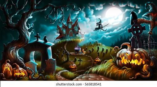 Halloween Night Mystery Graveyard Illustration Background