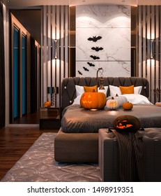 Halloween party in bedroom - decorations with lanterns and pumpkins , jack-o-lantern, modern luxury style, Halloween 2019, 3D render 3D illustration